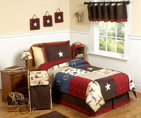 This is what she wants for her room... Wild West Cowboy Kids Bedding - 4 Piece Twin Set