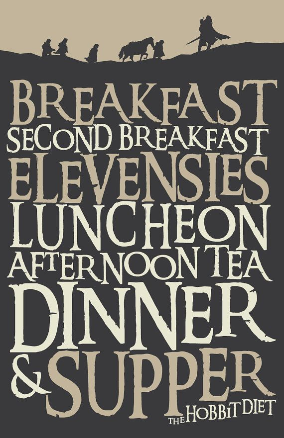 30 OFF 11x17 Lord of The Rings Inspired Hobbit Diet by 716designs
