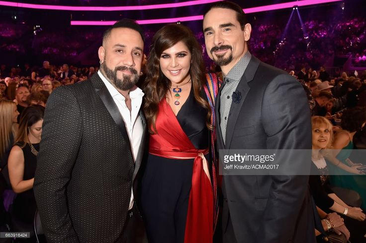 Recording artists AJ McLean of musical group The Backstreet Boys, Hillary Scott of musical group Lady Antebellum, and Kevin Richardson of musical group The Backstreet Boys attend the 52nd Academy Of Country Music Awards at T-Mobile Arena on April 2, 2017 in Las Vegas, Nevada.