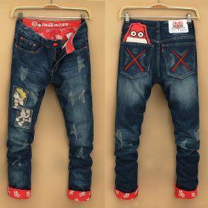 2015 hombres del punk pantalones jean delgado homme ropa hombre famosa marca slim fit jeans jean homme jeans para hombre marca punk festa junina