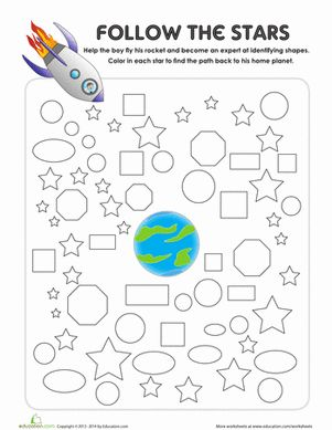 Preschool Worksheets: Shapes Maze. Follow the stars to help this little astronaut get home! This shapes maze helps kids with shape identification, plus they'll exercise basic logic and fine motor skills.
