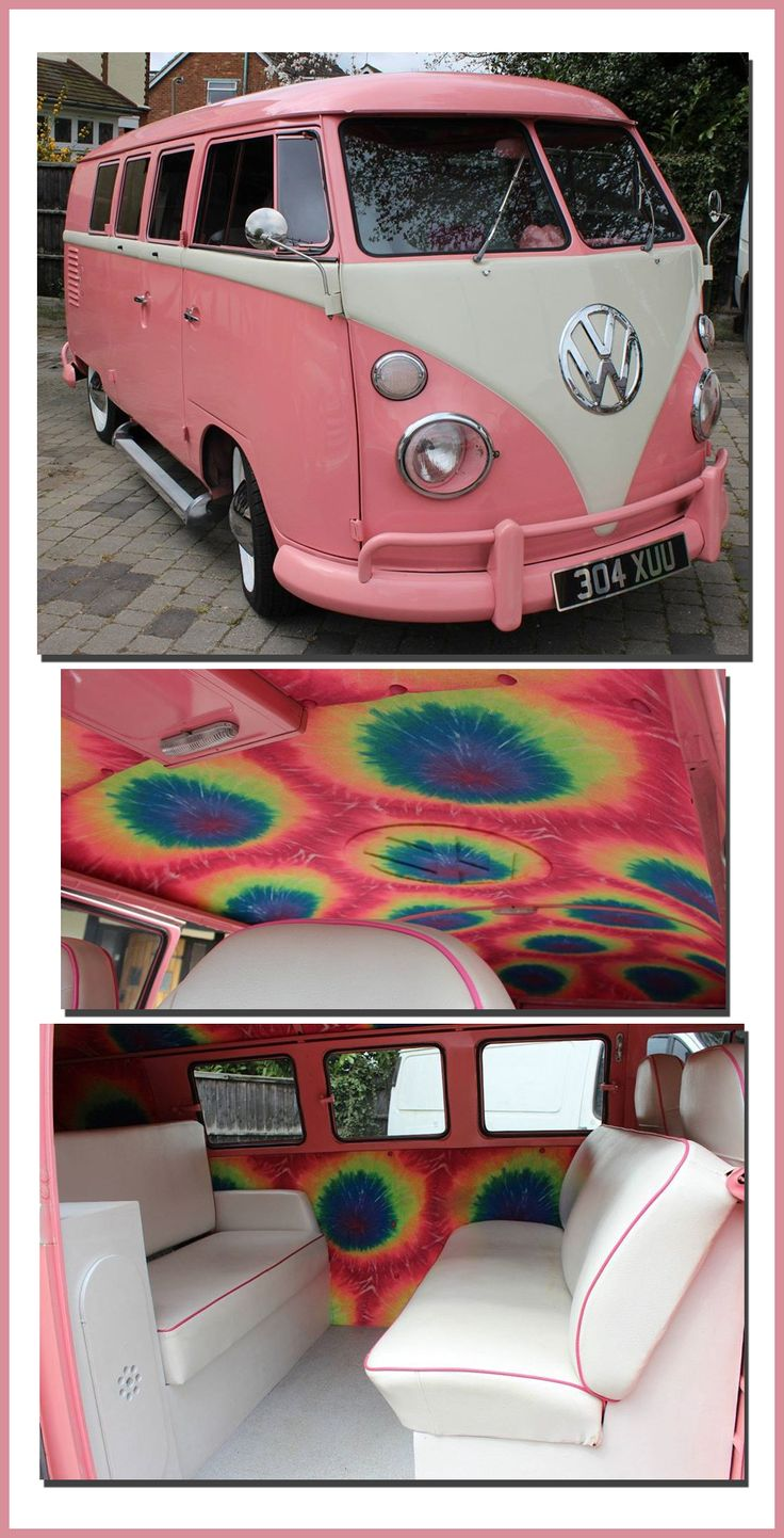 I've seen this pink Volkswagen before, but never the interior. I love the paint scheme, and I love the headliner, but I think tie-dye walls is a little over the top. What do you think? | Pinned by www.wfpcc.com