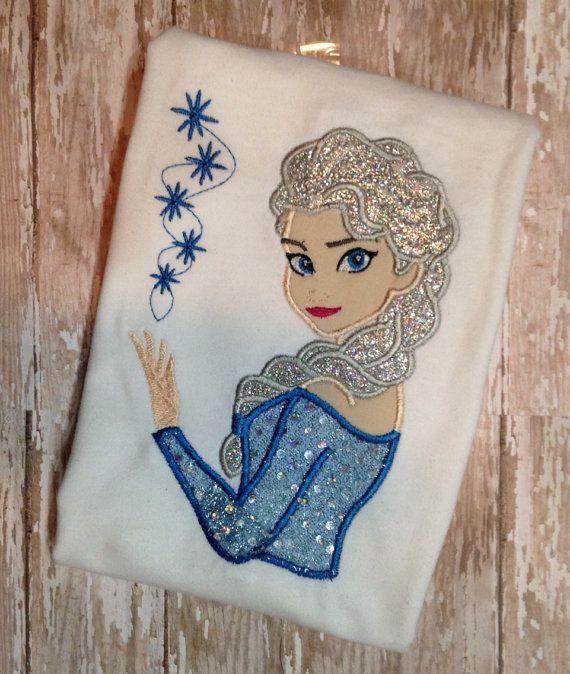 Frozen elsa applique shirt custom t top