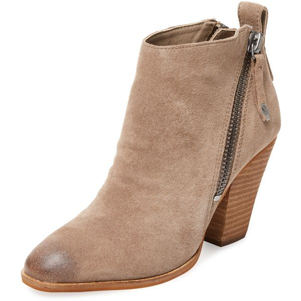 Dolce Vita Women's Hariet Suede Bootie - Cream/Tan - Size 10 (1.313.975 IDR) ❤ liked on Polyvore featuring shoes, boots, ankle booties, booties, ankle boots, tan booties, tan suede booties, faux suede booties and suede boots