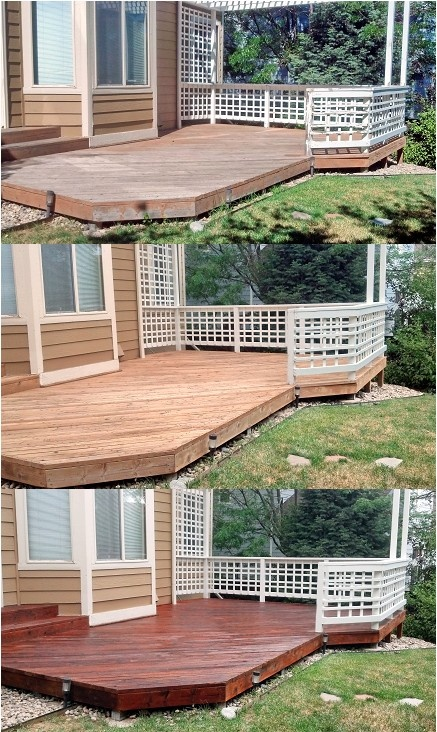 Before after cleaning and the final stained deck