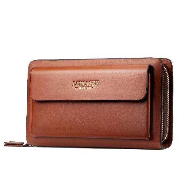 Мужская бизнес-сцепления Сумочка из PU кожи водонепроницаемый сотовый телефон сумка кошелек