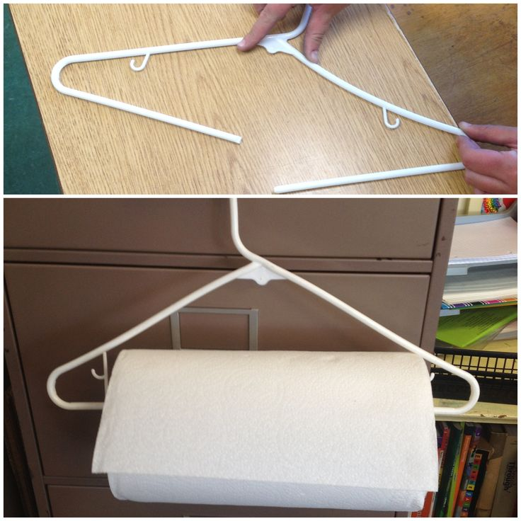 Such a clever idea: break a hanger and hang easily accessible paper towels in your classroom.