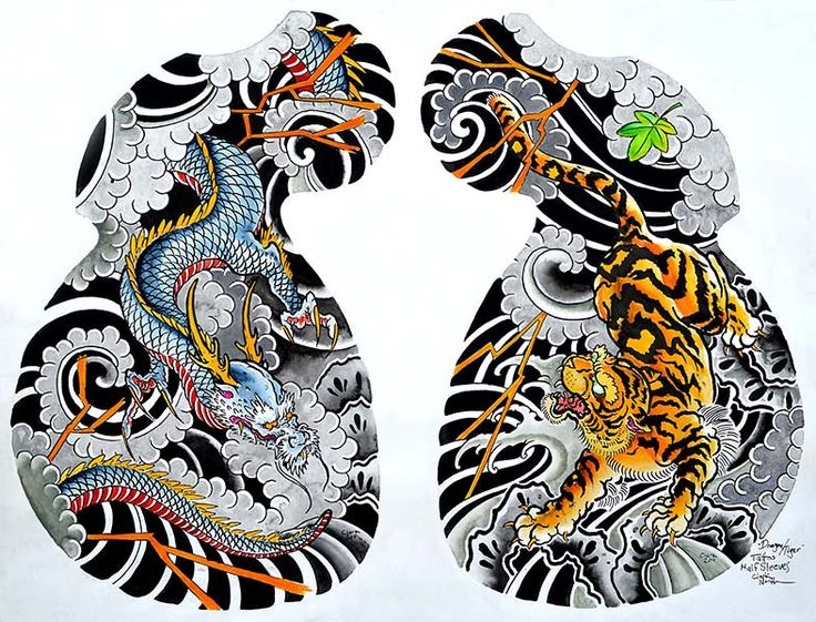Title: Dragon Tiger Tattoo Half Sleeve Artist: Clark North Made-to-order giclee fine art reproductions on canvas featuring the original artwork of today's hottest tattoo artists. Stretched and ready t