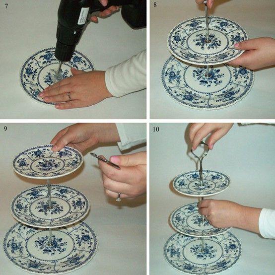 vintage plate cake stand DIY