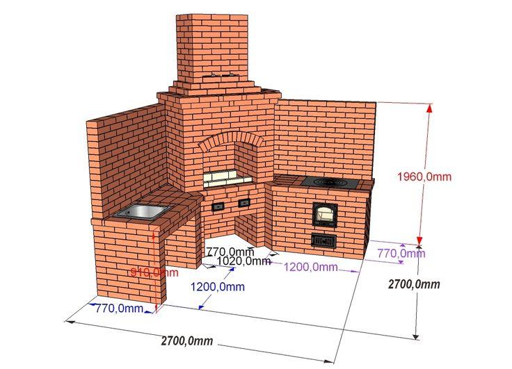 Проект барбекю угловой, с мойкой, мангалом и казаном 19 литров, казан 12 литров, столы