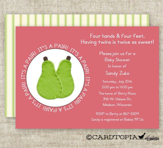 TWIN Girl BABY SHOWER Invitations It's A Pair by CardtopiaDesigns