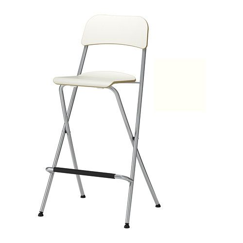 "FRANKLIN Bar stool with backrest, foldable - white/silver color, 24 3/4 "" - IKEA  Paint existing white"