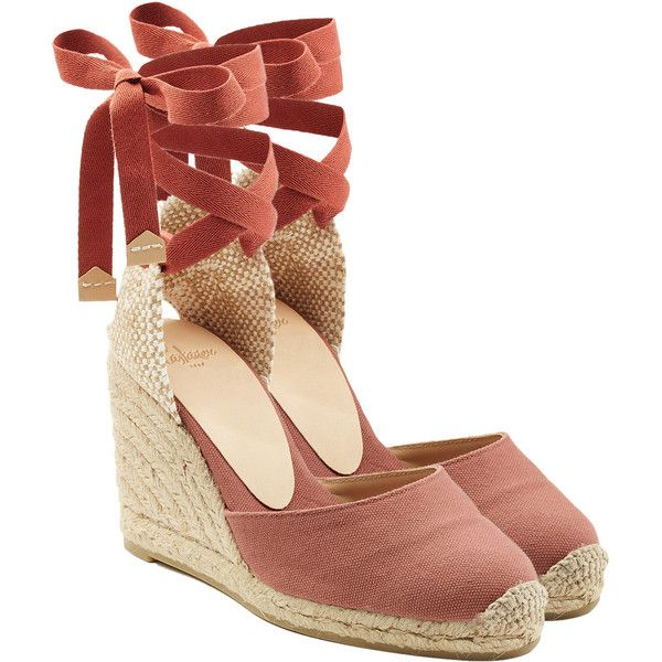 Castañer Espadrille Wedges (€79) ❤ liked on Polyvore featuring shoes, sandals, blue, wedge heel sandals, ankle wrap sandals, wedge shoes, castaner espadrilles and blue wedge sandals