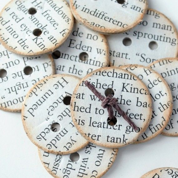 Antiqued CHIPBOARD BUTTONS with Book Page Print