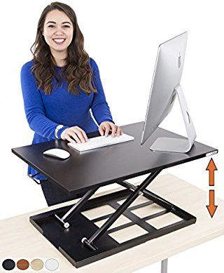 $200 Standing Desk - X-Elite Pro Height Adjustable Desk Converter - Size 28in x 20in Instantly Convert any Desk to a Sit / Stand up Desk (Black)