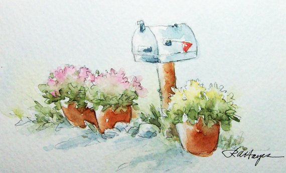 Country Mailbox and Flower Pots Original Watercolor Painting