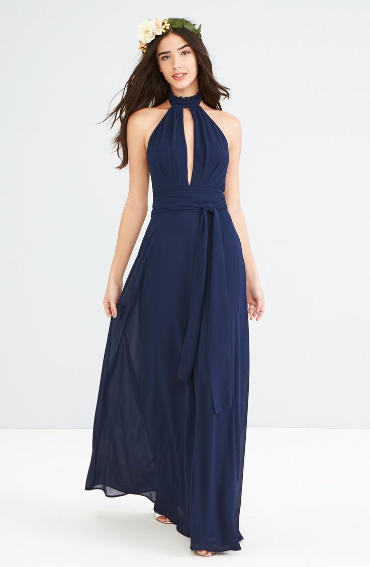 160 best navy blue bridesmaid dresses images on pinterest for Navy blue maxi dress for wedding