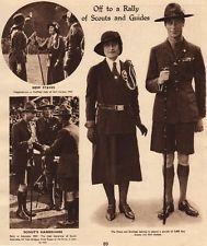 KING GEORGE VI. Rally of Boy Scouts and Girls Guides 1937 old vintage print