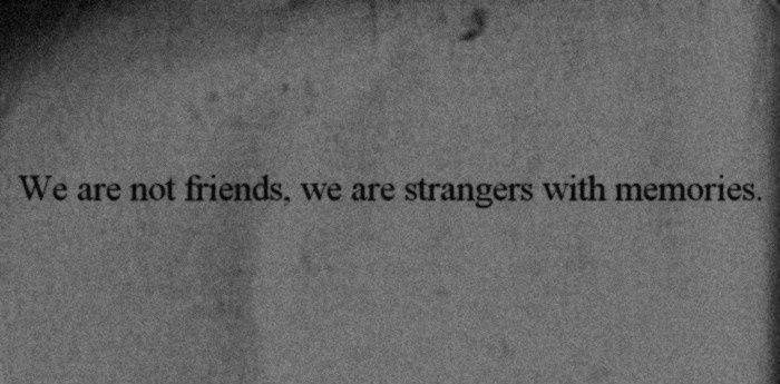 we are not friends, we are strangers with memories.