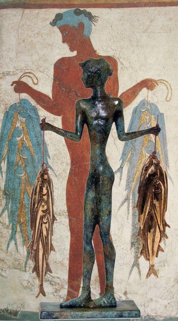 Santorini Greek Sculpture, Fisherman Bronze Statue, Cyclades Akrotiri Fresco Bronze Museum Reproduction, Ancient Greece Bronze Age Art