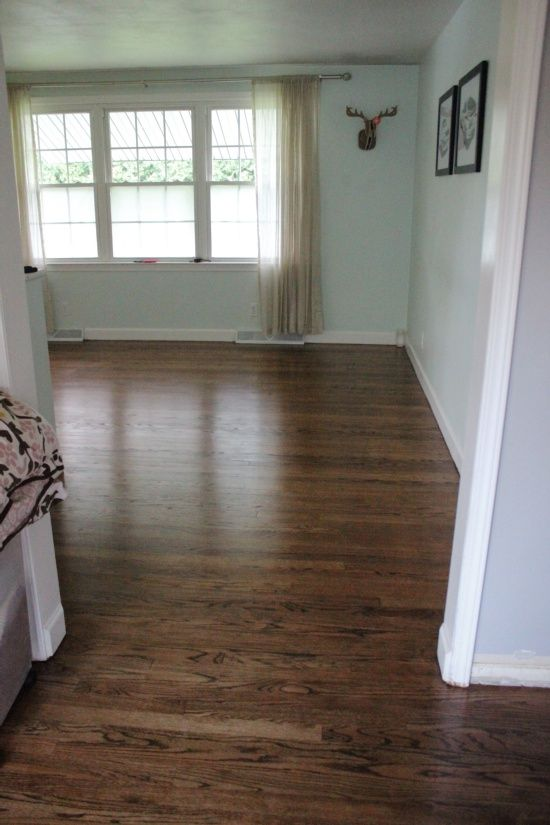 Beautifully Contained: Hardwood Floors: The Details,  50/50 mix of Dark Walnut and Provincial (both Minwax stains)