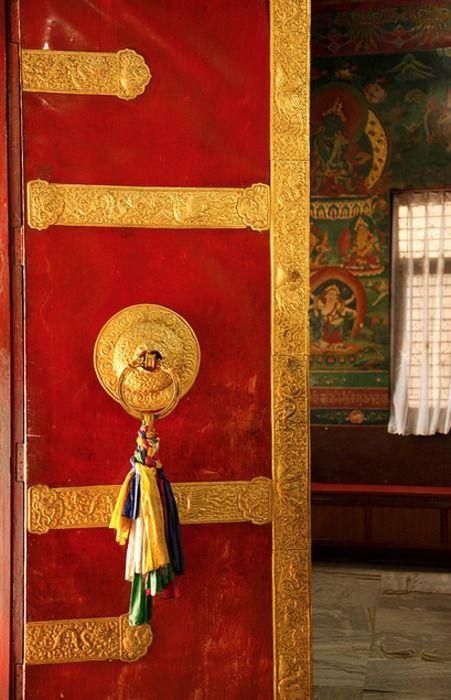 Door to Buddhist temple, Tibet