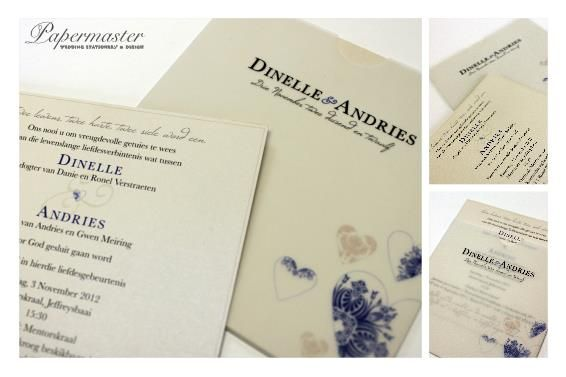 Square Pocket Invitation with Two Separate inserts  Port Elizabeth Wedding Stationery   Papermaster