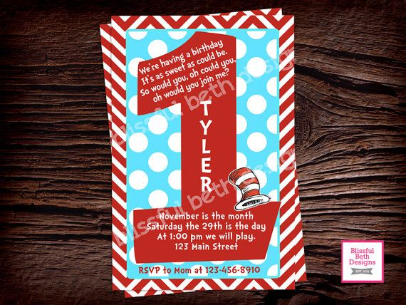 SEUSS BIRTHDAY INVITATION Dr. Seuss First by BlissfulBethDesigns