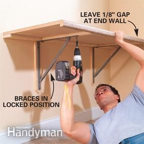 From Family Handyman site.  they use special fold down brackets ($24 on amazon) and a kitchen counter.   How to Organize a Laundry Room