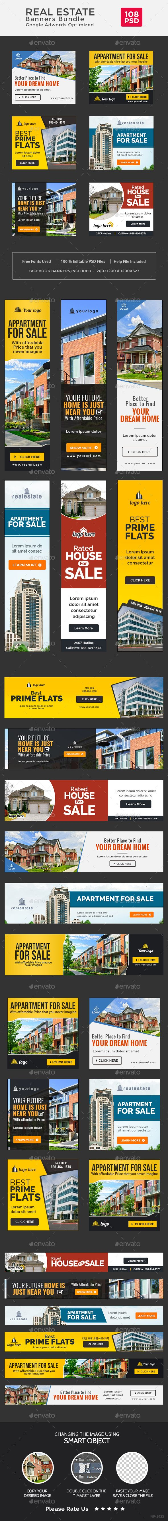 Real Estate Banners Bundle - 6 Sets - 108 Banners Templates PSD. Download here: https://graphicriver.net/item/real-estate-banners-bundle-6-sets-108-banners/17164937?ref=ksioks
