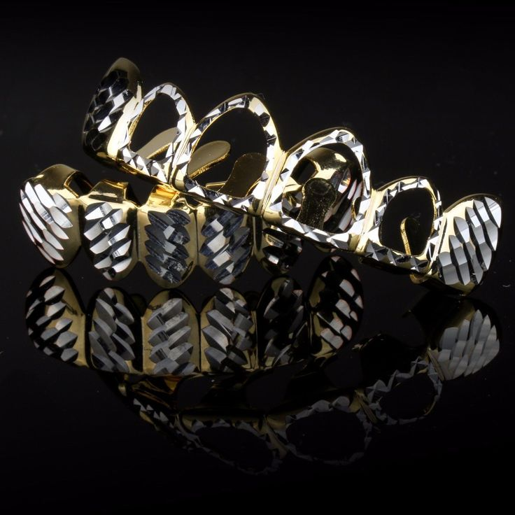 14K Gold & Silver Plated DIAMOND CUT Hollow Top and Bottom Teeth GRILLZ