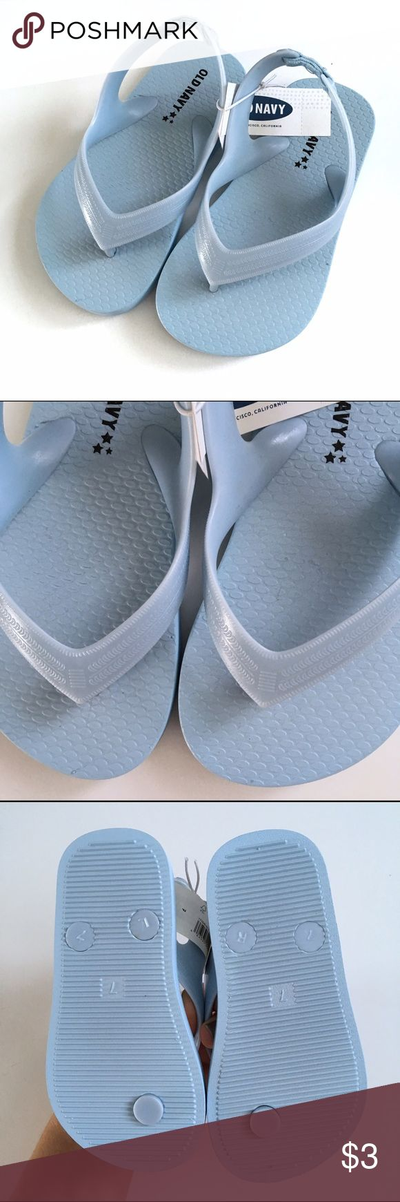 🚀NWT Old Navy Flip Flops 🚀 NWT Old Navy Boys Flip Flops. Toddler size 7. Baby blue with elastic strap at ankle. $2 Bundle and offer $1 less (PM requires &3 minimum for sale price.  ❗️Must be Bundled❗️$10 minimum Old Navy Shoes Sandals & Flip Flops