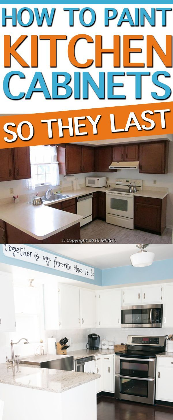 Learn how to paint kitchen cabinets so they actually last. It's an inexpensive and easy way to update your kitchen. Check out our method that looks as good as new seven years later! #kitchendesign #diyproject #diy #kitchencabinets #farmhousekitchen