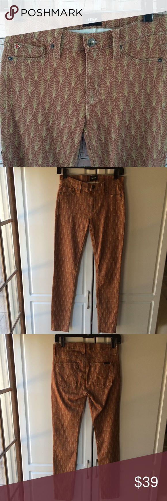 Hudson brown leaf print skinny jeans Excellent condition!  Size 26.  Cute for Spring! Hudson Jeans Jeans Skinny