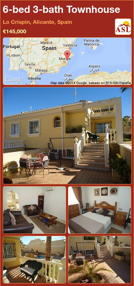 6-bed 3-bath Townhouse in Lo Crispin, Alicante, Spain ►€145,000 #PropertyForSaleInSpain