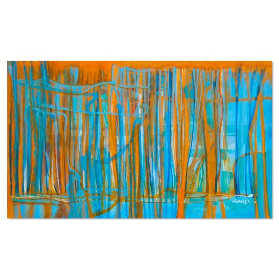 Pintura azul turquesa cuadro en lienzo dibujado a mano de for Pintura verde turquesa