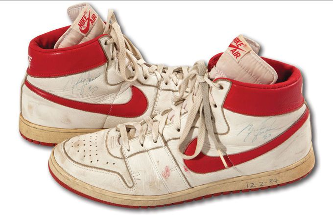 A pair of Michael Jordan's game-worn, rookie year sneakers just sold at auction for $71K