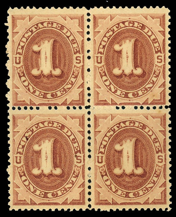 United States - Postage due stamps Postage Due, 1879, 1¢ brown (Scott J1), block of 4, o.g., never hinged, premium quality mint block, Post Office fresh and choice, the bottom 2 stamps are matchless GEMS that would realize record prices if broken out of the block, Very Fine to Extremely Fine.   Scott $ 1,160.   Estimate $ 1,000 - 1,500.    Dealer  Kelleher Auctions    Auction  Minimum Bid:  500.00USD