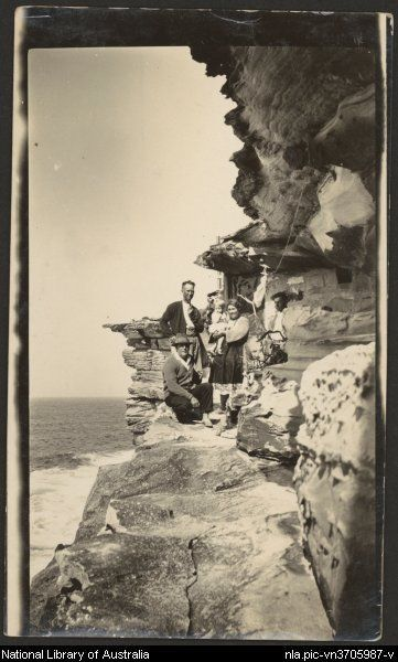 A family has been forced to become cave dwellers during the depression, near Kurnell, New South Wales, 1930s.