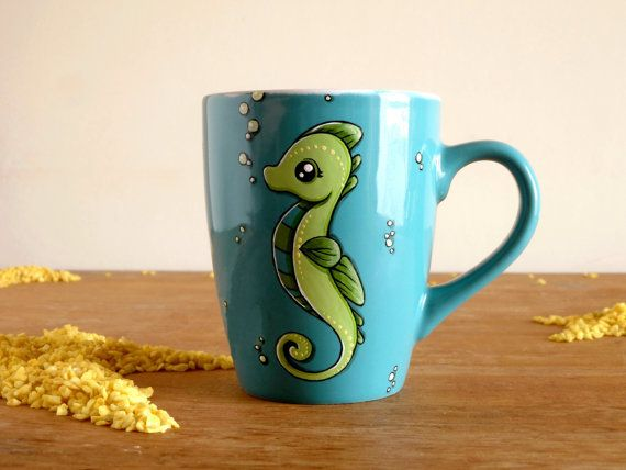 Cute Mug Seahorse Mug Teal mug with seahorse by vitaminaeu