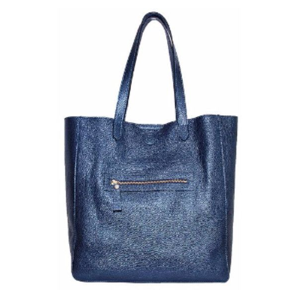 Metallic Navy Tote Bag ($415) ❤ liked on Polyvore featuring bags, handbags, tote bags, zip tote, laptop tote, navy blue tote, leather zip tote and zippered tote bag