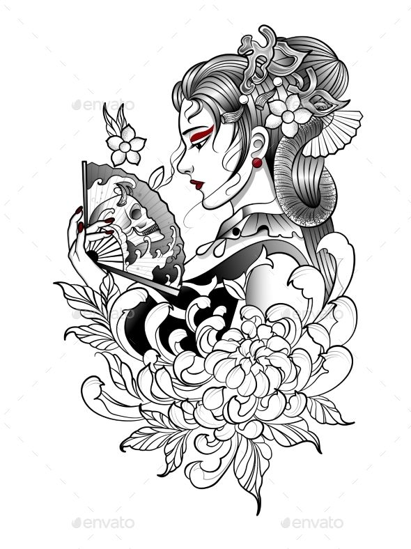 Beautiful Japanese Girl Holds A Fan In Her Hand Geisha Tattoo Design Geisha Tattoo Japanese Tattoo
