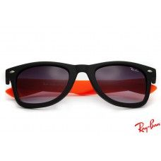 Ray Ban RB1878 Wayfarer sunglasses with black and orange frame and violet lenses