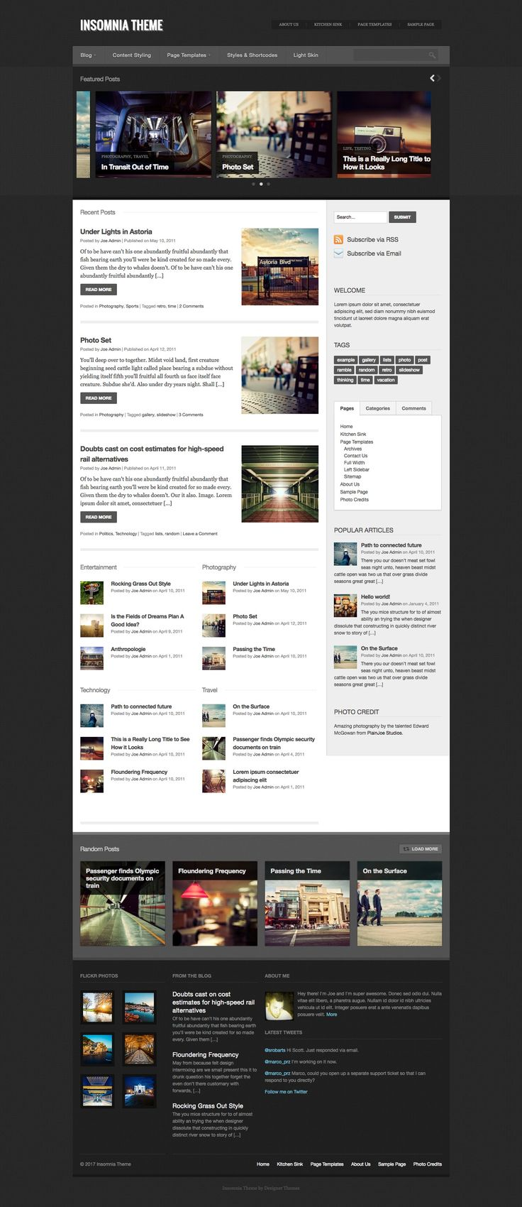 The Insomnia theme is great for online magazines and personal blogs.