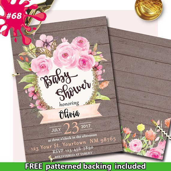 Rustic Pink Wreath Bridal Shower Invite Wood floral Baby