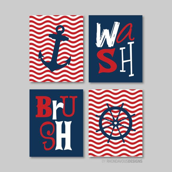 Nautical Bathroom Print Art - Bathroom decor - Bathroom art - Anchor. Wheel. Ocean. Sail. Wave. - Navy Blue Red - You Pick the Size (NS-515) on Etsy, $30.00