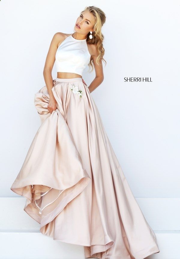 2016 New Two Pieces Embroidery Prom Dress Sherri Hill 50219