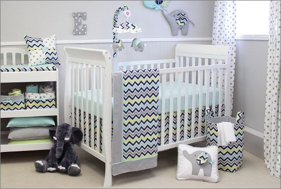 Great colours for a gender neutral nursery.  Elephants are so popular for decorating the nursery