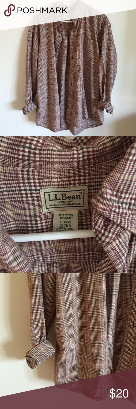 Vintage LL Bean Oversized Flannel Plaid Really cute! A plaid patterned vintage looking oversized flannel. Button down. Warm and cozy. It is a men's size L, but I wore this with leggings and boots, so cute!! Has a grunge 90s feel to it L.L. Bean Tops Button Down Shirts