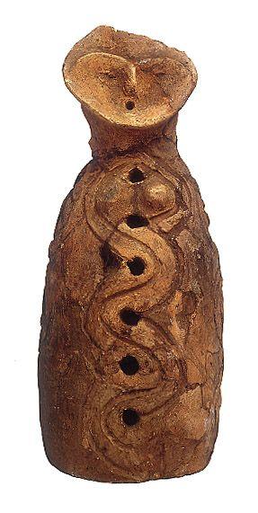 ca. 200 BCE. Late Jomon period. Ceramic 'female' figurine unearthed from Inariyama Shell Mound, Mimami-ku, Yokohama-shi Kanagawa Japan. Cleveland Museum.
